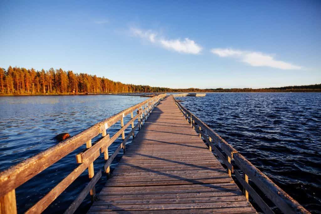 beautiful wooden walkway over a lake in finland W8E2EW6 1 1